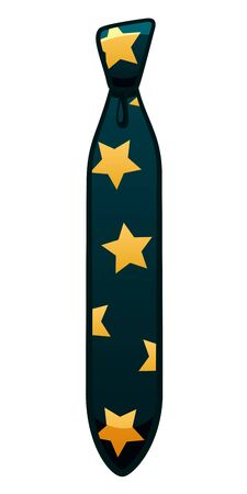 Dark blue necktie with yellow stars pattern isolated illustration. White background, vector.