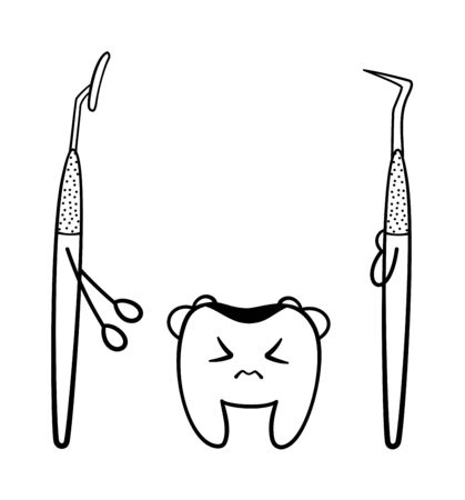 Isolated cartoon tooth with caries, metal dental probe and mouth mirror in black lines for International Dentist Day. White background, vector. Illustration