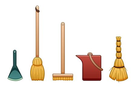 Cartoon isolated broom stick, bucket, mop with brush, besom and dustpan for cleaning. White background, vector.