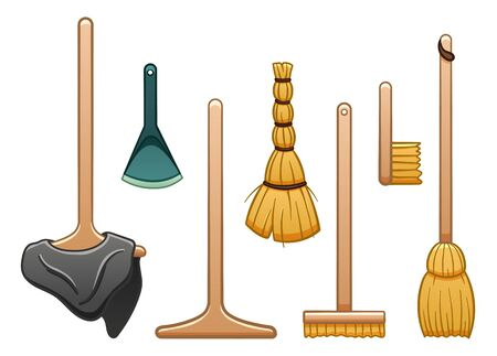 Isolated wooden mops, broomstick, besom and brush for cleaning. White background, vector. 일러스트