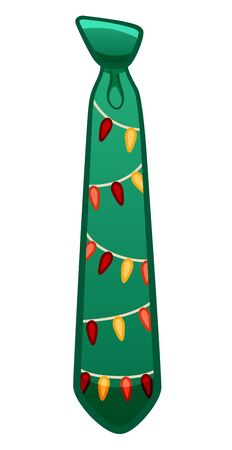 Green necktie with garland pattern isolated illustration. White background, vector. Ilustracja