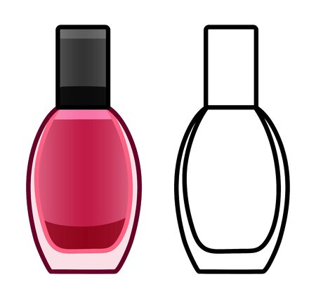 Glass bottle of pink nail polish. Colored and line version. White background, vector.