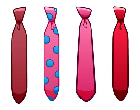 Four pink neckties set isolated illustration. White background, vector.