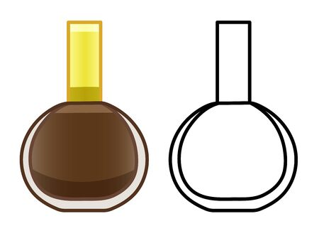 Glass bottle of brown nail polish. Colored and line version. White background, vector.