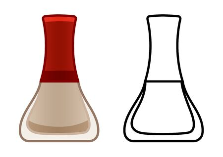 Glass bottle of beige nail polish. Colored and line version. White background, vector.