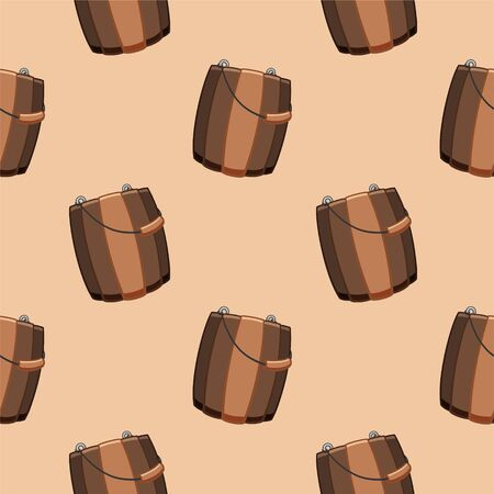 Cartoon style wooden buckets for bathhouse seamless pattern. Beige background, vector.