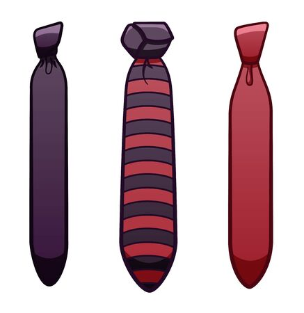 Three purple neckties set isolated illustration. White background, vector.