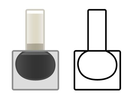 Glass bottle of black nail polish. Colored and line version. White background, vector.