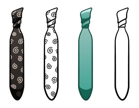 Necktie in four variants set isolated illustration. Colored, line version, with pattern. White background, vector.  イラスト・ベクター素材