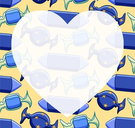 White transparent copy space in the shape of a heart on pattern with candies in blue wrapper on yellow background. Vector.