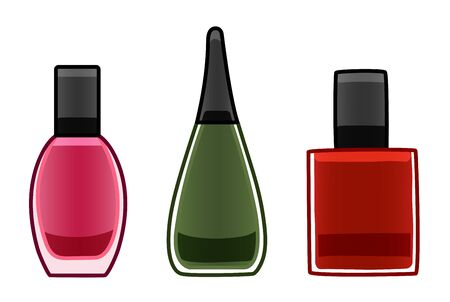 Glass bottles of nail polish set. Pink, green and red. White background, vector. Illusztráció