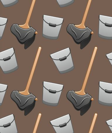 Cartoon style wooden mops with gray rags and metal buckets for cleaning seamless pattern. Brown background, vector.