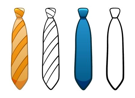 Necktie with simple knot in four variants set isolated illustration. Colored, line version, with pattern. White background, vector.