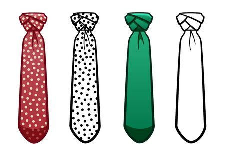 Necktie with eldredge knot in four variants set isolated illustration. Colored, line version, with pattern. White background, vector.