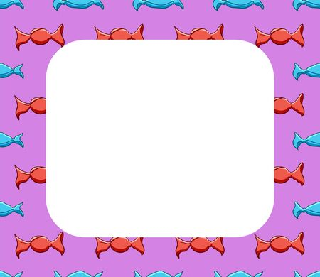 White copy space on pattern with candies in red and blue wrapper. Pink background, vector.