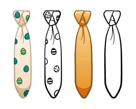Necktie with capsule knot in four variants set isolated illustration. Colored, line version, with pattern. White background, vector.