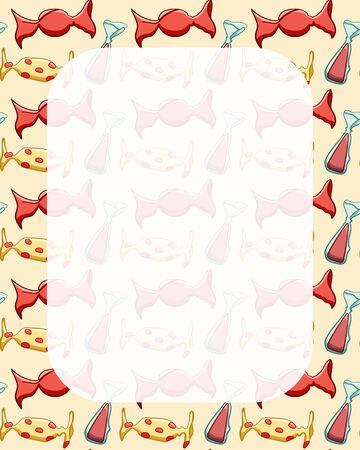 White rectangle transparent copy space on red candies pattern. Yellow background, vector.