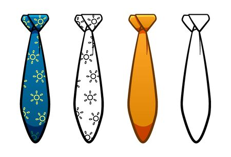 Necktie with atlantic knot in four variants set isolated illustration. Colored, line version, with pattern. White background, vector.