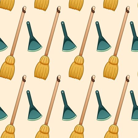 Cartoon style wooden broomsticks and blue plastic dustpans for cleaning seamless pattern. Beige background, vector. Illustration