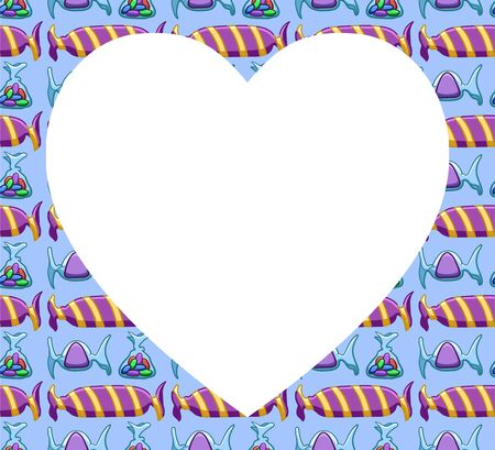 White copy space in the shape of a heart on pattern with purple candies on blue background. Vector.