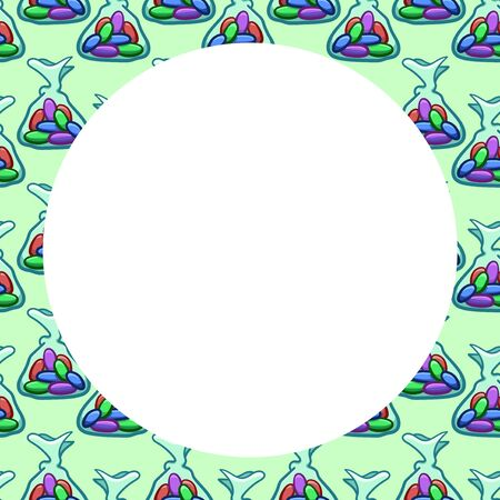 White round copy space on pattern with jelly beans candies in transparent wrapper on green background. Vector.  イラスト・ベクター素材