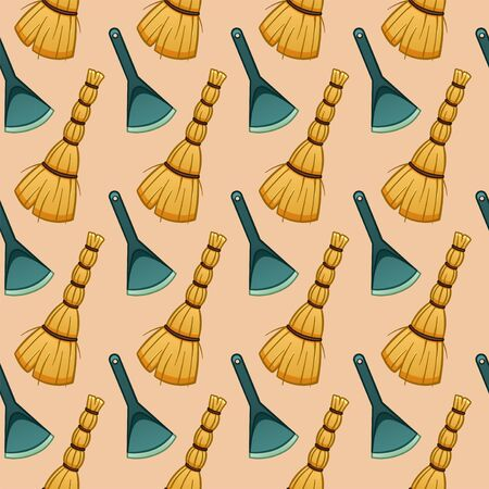 Cartoon style besoms and blue plastic dustpans for cleaning seamless pattern. Beige background, vector.