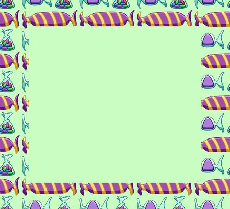 Green square copy space on pattern with purple candies on green background. Vector.  イラスト・ベクター素材