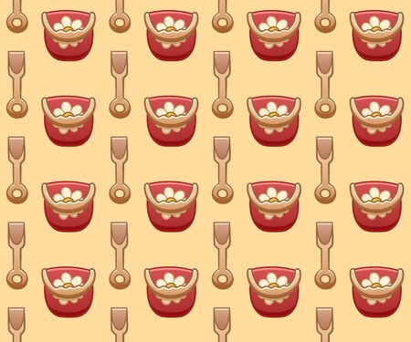 Seamless pattern with cartoon red plastic buckets with a handle and flower drawing and beige childrens shovels. Yellow background, vector.