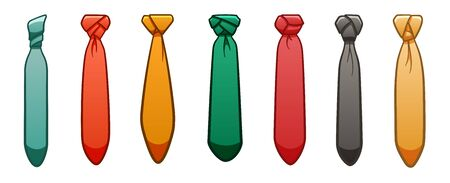 Seven neckties of different colors set isolated illustration. White background, vector.  イラスト・ベクター素材