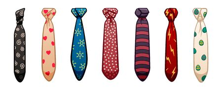 Seven neckties of different colors and patterns set isolated illustration. White background, vector.  イラスト・ベクター素材