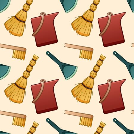 Cartoon style besoms, brushes, red plastic buckets and blue dustpans for cleaning seamless pattern. Beige background, vector.  イラスト・ベクター素材