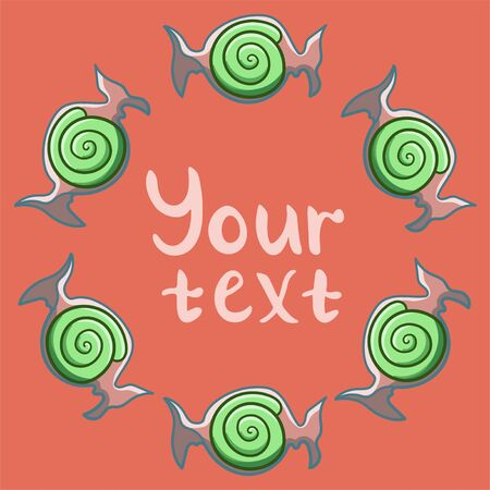 Round frame made of green swirled candies in transparent wrapper. Your text inscription. Red background, vector.  イラスト・ベクター素材