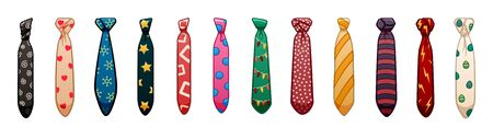 Twelve neckties of different colors and patterns set isolated illustration. White background, vector.