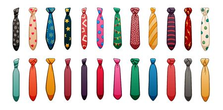 Twenty four neckties of different colors and patterns set isolated illustration. White background, vector.