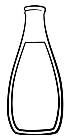 Glass bottle of milk in black lines isolated illustration. White background, vector.  イラスト・ベクター素材