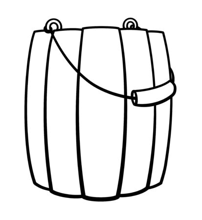 Cartoon style wooden bucket with a handle in black lines isolated illustration. Bucketful for bathhouse and sauna. White background, vector.
