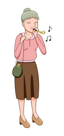 Cartoon style old woman with party whistle isolated illustration. April fools day. White background, vector.