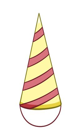 Cartoon style red and yellow stripped paper holiday hat isolated illustration. Hat for party and celebration. White background, vector.  イラスト・ベクター素材