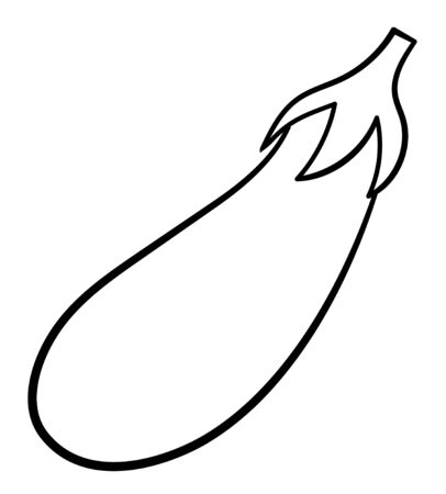 Cartoon style eggplant in black lines isolated illustration. White background, vector.