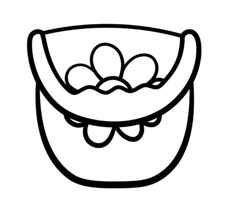 Isolated cartoon plastic bucket with a handle and flower drawing on it in black lines. Bucketful for playing in the sandbox. White background, vector.  イラスト・ベクター素材