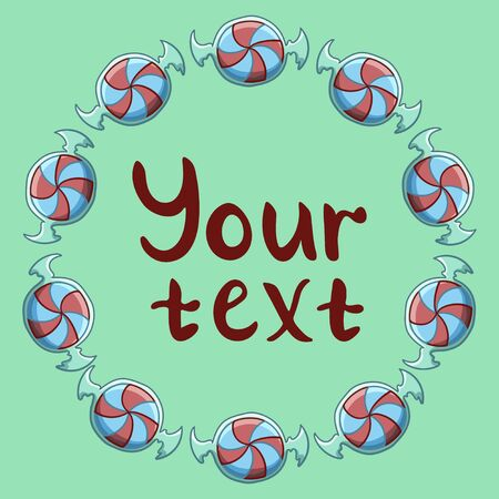 Round frame made of red and blue stripped swirled candies in transparent wrapper. Your text inscription. Green background, vector.  イラスト・ベクター素材