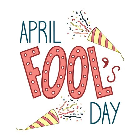 Colored lettering for April Fools Day with two confetti petards decoration. Isolated illustration. White background, vector.  イラスト・ベクター素材