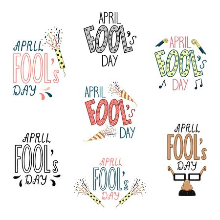 Lettering for April Fools Day set. Confetti petards, fake nose, party whistles decoration. Isolated illustration. White background, vector.  イラスト・ベクター素材