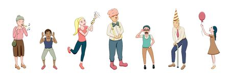 Happy cartoon style people at the party set isolated illustration. White background, vector.