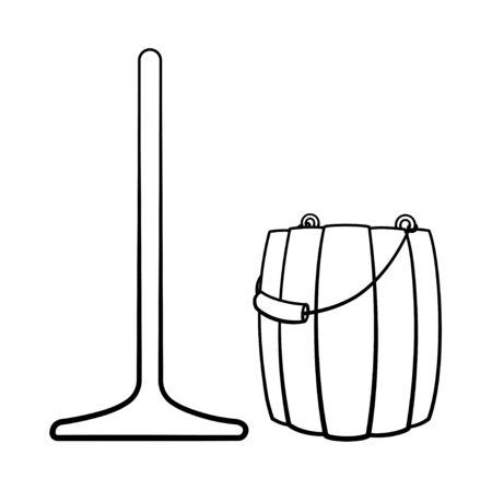 Cartoon isolated wooden mop and bucket for cleaning in black lines. White background, vector.  イラスト・ベクター素材
