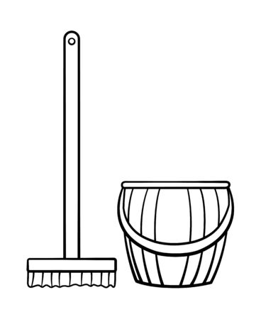 Cartoon style wooden mop with brush and plastic stripped bucket for cleaning in black lines. Isolated illustration. White background, vector.