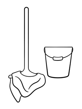 Wooden mop with rag and metal bucket for cleaning in black lines. Isolated illustration. White background, vector.  イラスト・ベクター素材