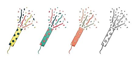 Confetti petards set isolated illustration for holiday party. Colored and graphic. White background, vector. Vettoriali