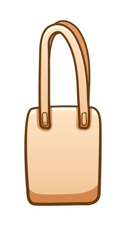 Beige textile ecobag isolated illustration. White background, vector.  イラスト・ベクター素材