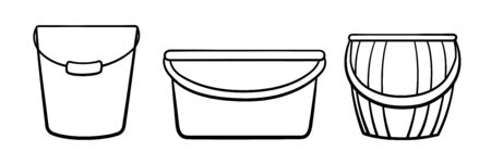 Plastic and metal buckets set for cleaning and gardening in black lines. White background, vector. 일러스트
